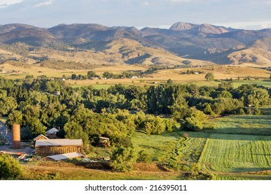 irrigated foothills farmland in sunrise light, Belvue near Fort Collins in northern Colorado