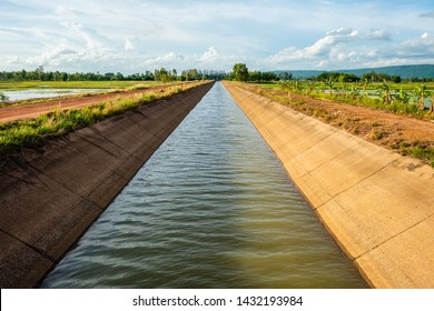 Irrigation canal along the rice farm at Phitsanulok province, Central of Thailand