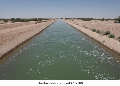 Irrigation canal in the Arizona desert near Casa Grande on May 3, 2017