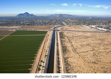 Irrigation canal cutting through Reservation and Scottsdale, Arizona