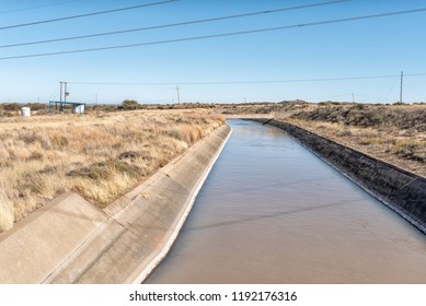 An irrigation canal, originating from the Vanderkloof Dam, near Luckhoff in the Free State Province