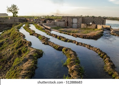 Irrigation canal system at the euphrates river in Syria near Dura Europos