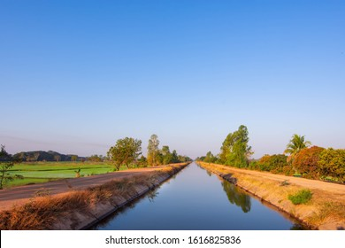 Irrigation canals, concrete canals, irrigation systems in the northeastern region of Thailand