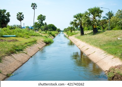 Irrigation canals are used as a channel for delivering water to field' cultivated land to be used as water in agricultural areas.