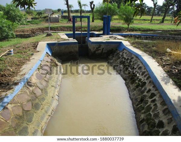 Irrigation channels for agricultural waters that produce spices and rice producers Mekarjaya Village, Compreng District, Subang Regency, West Java, Indonesia