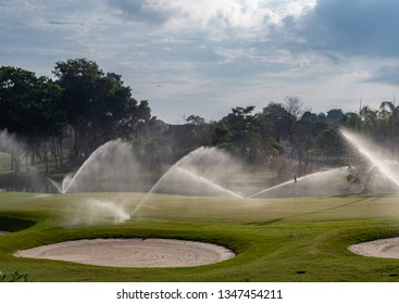 Irrigation of golf course in tropical setting in Malaysia.
