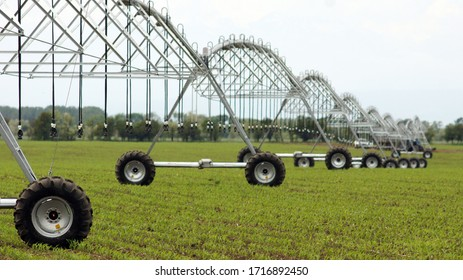 Irrigation machine during operation on the fild