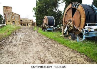 Irrigation machines in tuscan countryside