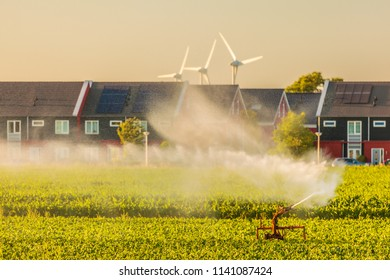 Irrigation sprinkler on farmland in front of Dutch houses with solar panels and windmills