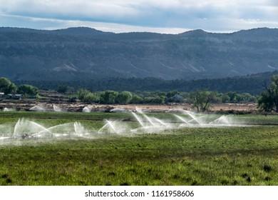 Irrigation system on farm field in southwest, USA