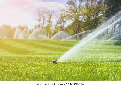 irrigation system sprinkles water fountain for long distance irrigated golf course