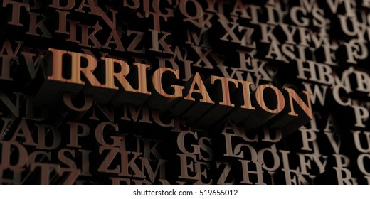 Irrigation - Wooden 3D rendered letters/message.  Can be used for an online banner ad or a print postcard.