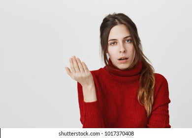 Irritated young female with dark hair in ponytail has displeased face expression, gestures actively, expresses negativeness, isolated against gray background. Girl asking so what, who cares