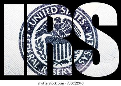 IRS, Internal Revenue Service, Money on Black Background