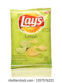 IRVINE, CA - APRIL 4, 2019: A package of Lays Limon Potato Chips, from the Frito-Lay Company.