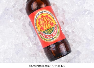 IRVINE, CA - AUGUST 26, 2016: A bottle of Redhook ESB on Ice. Redhook was founded in 1981 in Seattle, Washington.