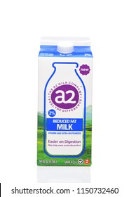 IRVINE, CA - AUGUST 6, 2018:  A carton of A-2 Milk. Studies show milk with only the A2 Beta Casein Protein Type reduced acute gastrointestinal symptoms in milk sensitive consumers.