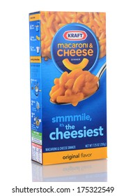 IRVINE, CA - FEB 06, 2013: A box of Kraft Macaroni and Cheese. The packaged meal was first introduced in 1937 during the Great Depression.