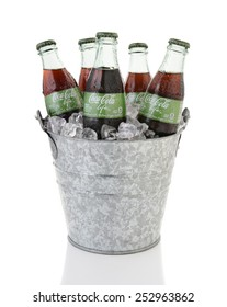 IRVINE, CA - FEBRUARY 15, 2015: Coca-Cola Life bottles in an ice bucket. A reduced calorie soft drink sweetened with cane sugar and Stevia, containing 60% of the calories of Classic Coke.