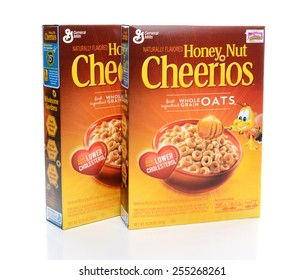IRVINE, CA - FEBRUARY 19, 2015: Two boxes of Honey Nut Cheerios. Introduced in 1979 by General Mills it is a slightly sweeter version of the original Cheerios breakfast cereal.