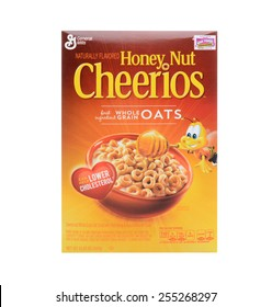 IRVINE, CA - FEBRUARY 19, 2015: Honey Nut Cheerios. Introduced in 1979 by General Mills it is a slightly sweeter version of the original Cheerios breakfast cereal.