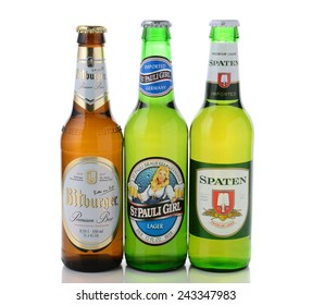 IRVINE, CA - JANUARY, 11, 2015: Three bottles of German beers. St, Pauli Girl, Spaten and Bitburger are three popular German beers imported into the United States.