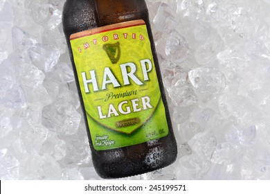 IRVINE, CA - JANUARY 11, 2015: Closeup of a single bottle of Harp Lager on a bed of ice. Harp is an Irish lager created in 1960 by the Guinness Brewing Co., brewed with water from the Cooley Mountains