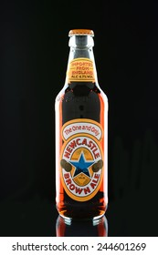 IRVINE, CA - JANUARY 15, 2015: A bottle of Newcastle Brown Ale. Launched in 1927 by Colonel Jim Porter after the merger of Newcastle Breweries with Scottish Brewers.