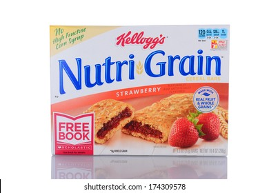 IRVINE, CA - January 29, 2014: A box of Nutri-Grain Strawberry Cereal Bars. Made by Kellogg's the bars became popular in the 1990's as a on-the-go food.