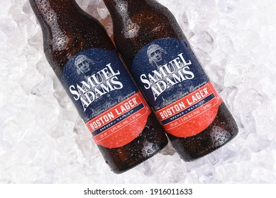 IRVINE, CA - JULY 16, 2017: Samuel Adams Boston Lager on ice. From the Boston Beer Company. Based on sales in 2016, it is the second largest craft brewery in the U.S.