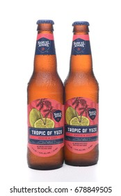 IRVINE, CA - JULY 16, 2017: Samuel Adams Tropic of Yuzu two bottles. From the Boston Beer Company. Based on sales in 2016, it is the second largest craft brewery in the U.S.