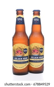 IRVINE, CA - JULY 16, 2017: Samuel Adams Golden Hour two bottles. From the Boston Beer Company. Based on sales in 2016, it is the second largest craft brewery in the U.S.