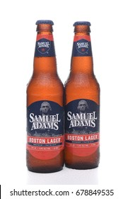 IRVINE, CA - JULY 16, 2017: Samuel Adams Boston Lager two bottles. From the Boston Beer Company. Based on sales in 2016, it is the second largest craft brewery in the U.S.