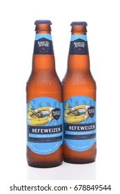 IRVINE, CA - JULY 16, 2017: Samuel Adams Hefeweizen two bottles. From the Boston Beer Company. Based on sales in 2016, it is the second largest craft brewery in the U.S.