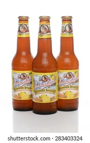 IRVINE, CA - JUNE 1, 2015: Three bottles of Leinenkugel Summer Shandy. Leinenkugel was founded in Chippewa Falls, WI, in 1867 by Jacob Leinenkugel.