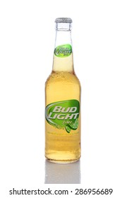 IRVINE, CA - JUNE 14, 2015: A single bottle of Bud Light Lime. From Anheuser-Busch InBev, Bud Light Lime is a flavored beer introduced in 2008.