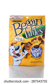 IRVINE, CA - JUNE 14, 2015: A package of Beggin Littles. The bacon flavored snacks are made for small breed dogs by the Nestle Purina PetCare Company.