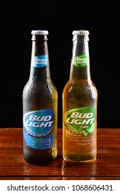 IRVINE, CA - JUNE 18, 2015: Bud Light and Bud Light Lime bottles. Bud Light is one of the most popular domestic brands of beer.