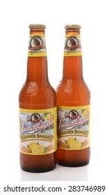 IRVINE, CA - JUNE 2, 2015: Two bottles of Leinenkugel Summer Shandy on white. Leinenkugel was founded in Chippewa Falls, WI, in 1867 by Jacob Leinenkugel.