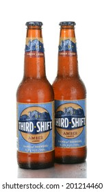 IRVINE, CA - June 26, 2014: Two bottles of Third Shift Amber Lager with condensation. Brewed by the Band of Brewers in Ft. Worth Texas, a division of the MillerCoors network.