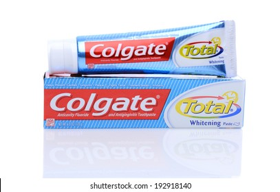IRVINE, CA - May 14, 2014: A 6oz tube of Colgate Total Toothpaste. Colgate, a sub-brand of Colgate-Palmolive, is an oral hygiene product line of toothpastes, toothbrushes and mouthwashes.