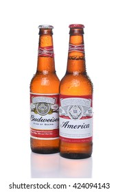 "IRVINE, CA - MAY 21, 2016: Two Budweiser America Bottles. A limited edition to celebrate ""America and Budweisers shared values of freedom and authenticity."""