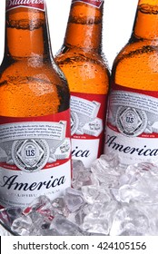 IRVINE, CA - MAY 21, 2016: Three Budweiser America Bottles. Limited edition America bottles in an ice bucket