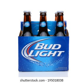 IRVINE, CA - MAY 25, 2014: A 6 pack of Bud Light beer. From Anheuser-Busch InBev, Bud Light is the number selling one domestic beer in the United States.