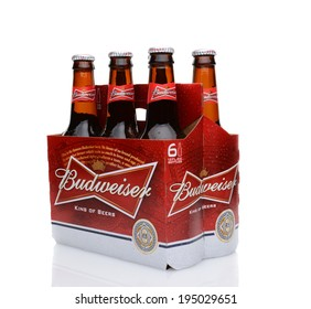 IRVINE, CA - MAY 25, 2014: A 6 pack of Budweiser, side view. Introduced in 1876 by Adolphus Busch, Bud has become one of the best selling beers in the United States.