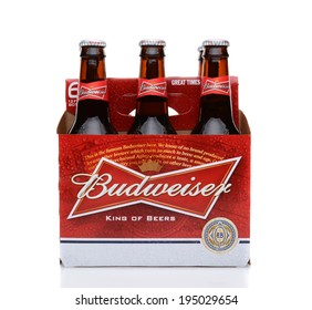 IRVINE, CA - MAY 25, 2014: A 6 pack of Budweiser, side view. Introduced in 1876 by Adolphus Busch Bud has become one of the best selling beers in the United States.