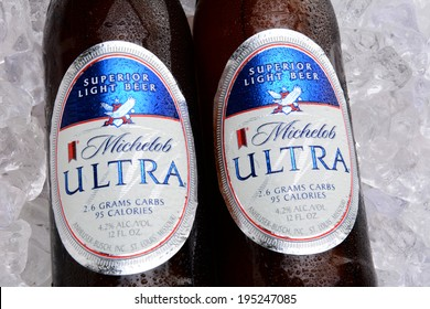 IRVINE, CA - MAY 25, 2014: Two bottles of Michelob Ultra on a bed of ice. Introduced in 2002 Michelob Ultra is a light beer with reduced calories and carbohydrates, from Anheuser-Busch.