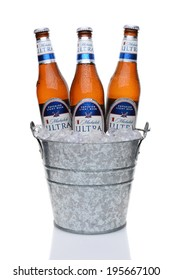 IRVINE, CA - MAY 25, 2014: Michelob Ultra bottles in a bucket of ice. Introduced in 2002 Michelob Ultra is a light beer with reduced calories and carbohydrates, from Anheuser-Busch.