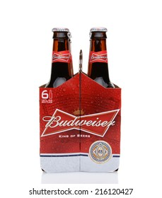IRVINE, CA - MAY 25, 2014: A 6 pack of Budweiser, end view. Introduced in 1876 by Adolphus Busch Bud has become one of the best selling beers in the United States.