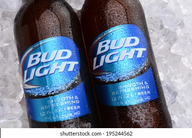 IRVINE, CA - MAY 27, 2014: Two bottles of Bud Light on a bed of ice. From Anheuser-Busch InBev, Bud Light is the top selling domestic beer in the United States.